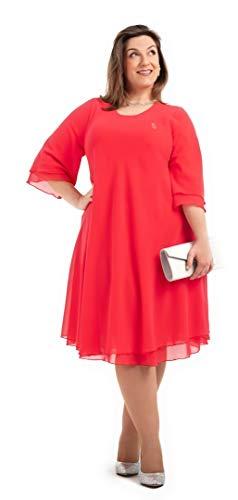 PARAISO CURVY Vestido para Ceremonias de día, Fabricado en España con Gasa Georgette Doble para Tallas Extra Grandes, cómodo y Elegante. (60)
