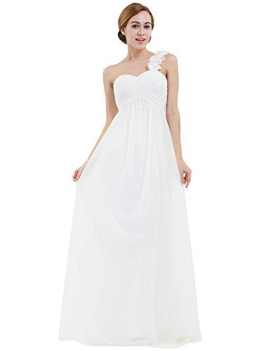 IEFIEL Vestido Largo de Fiesta para Mujer Vestido Elegante de Dama de Honor Vestido Cóctel Un Hombro Descubierto para Ceremonias Gala Blanco 38