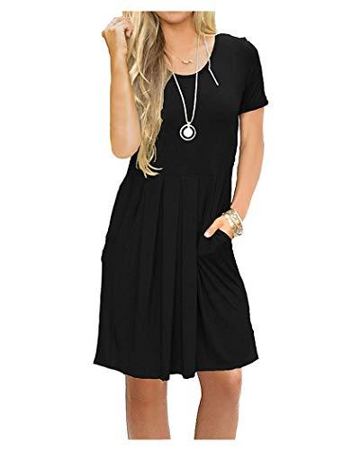 AUSELILY Vestido Informal de Manga Corta con Pliegues Sueltos y Manga Larga para Mujer(EU 36-38,Negro)
