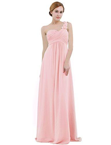 IEFIEL Vestido Largo de Fiesta para Mujer Vestido Elegante de Dama de Honor Vestido Cóctel Un Hombro Descubierto para Ceremonias Gala Rosa 38