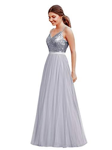 Ever-Pretty Vestido de Fiesta Noche Largo para Mujer Cuello V Espalda Descubierta Brillante Plateado 36