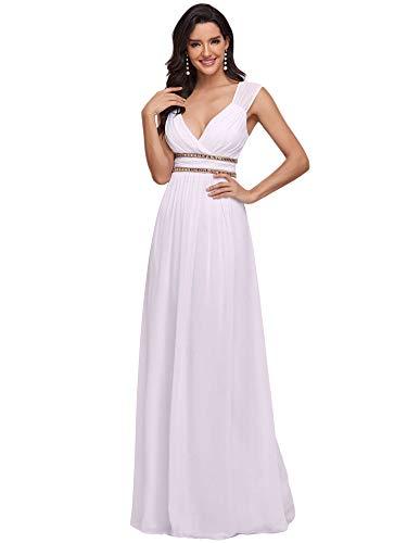 Ever-Pretty A-línea Vestido de Novia Gasa Cuello en V sin Mangas Largo para Mujer Blanco 48