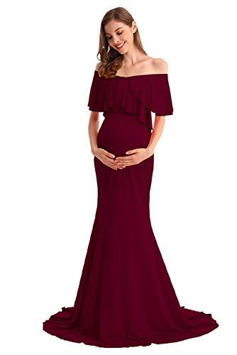 AYMENII Vestido largo de maternidad para mujer, con hombros descubiertos, manga con vuelos, cuello en V, vestido de fiesta de bebé, vestido de fotografía para sesión de fotos