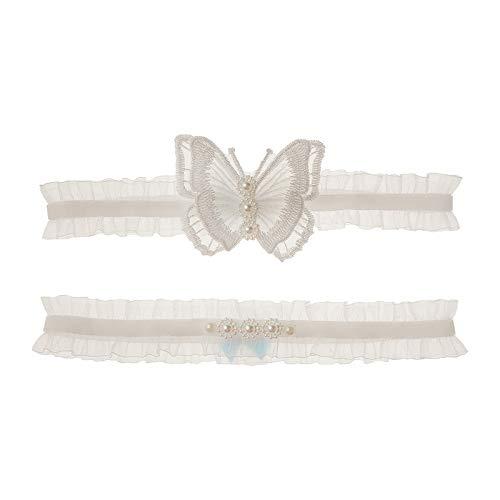 Afrsmw Liga Novia Blanca Ligas de Boda Blanca con decoración de Mariposa y Perla Accesorios de Vestir y Vestidos de Novia para Boda o Fiesta 1#