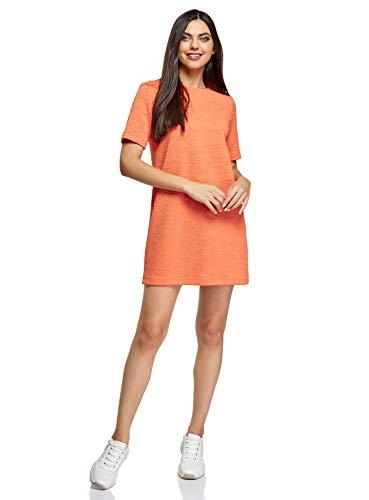 oodji Collection Mujer Vestido Recto de Tejido Texturizado, Naranja, ES 36 / XS