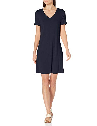 Amazon Essentials Short-Sleeve V-Neck Swing Dress, Azul Marino, XS