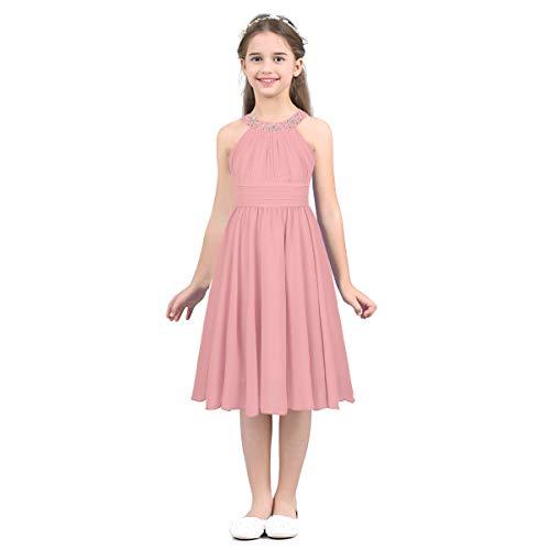 IEFIEL Vestido Princesa Niña de Fiesta Boda Vestido Elegante Cuello Halter Vestido Encaje de Dama de Honor Vestido Ceremonia Niña 4-14 años Rosa A 14 años