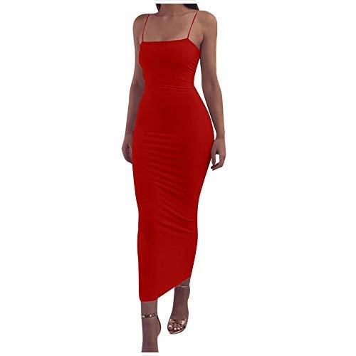 VEMOW Vestido Larga Tirantes Mujer Ajustado Vestido Color Sólido sin Manga Estilo Vintage para Verano Vacaciones, Elegante Fiesta Escotado por Detrás Vestido Casual de Noche Playa Vacaciones(Rojo,M)