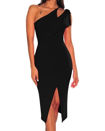 Vestidos Elegantes de Fiesta de cóctel de Color sólido con Abertura Alta sin Mangas con un Hombro para Mujer (XL,Black)