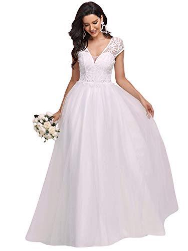 Ever-Pretty Vestido de Novia A-línea Largo para Mujer Bohemia Escote en V Mangas Casquillo Apliques Encaje Tul Blanco 38