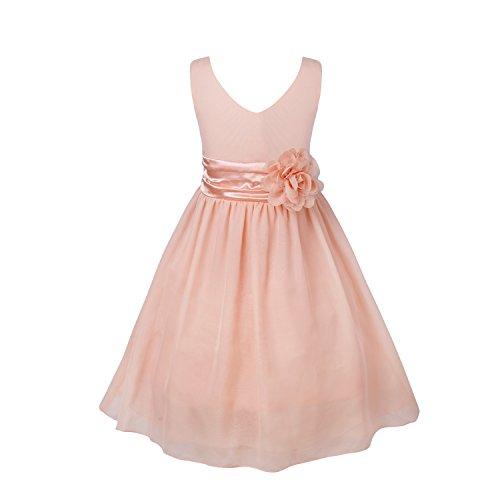 IEFIEL Vestido Fiesta Boda Niña Vestido Largo de Princesa con Flores Vestido Elegante de Dama de Honor Vestido Largo de Gasa para Cumpleaños Ceremonias Rosa Perla 8 años