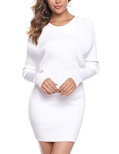 Aibrou Vestidos a Punto Mujer,Vestido Sexy de Una Pieza de Punto elástico,Vestidos de Jersey Manga Larga Vestido Invierno Vestido Fiesta (Blanco, S)