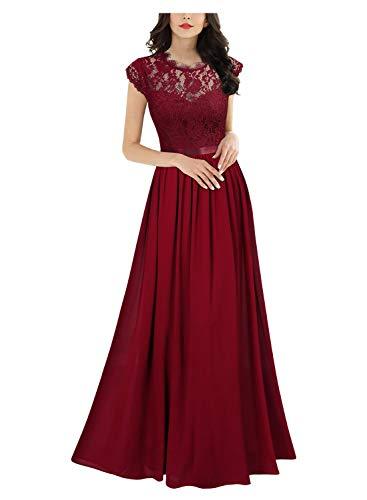 Miusol Elegante Encaje Gasa Fiesta Vestido Largo para Mujer Rojo Small
