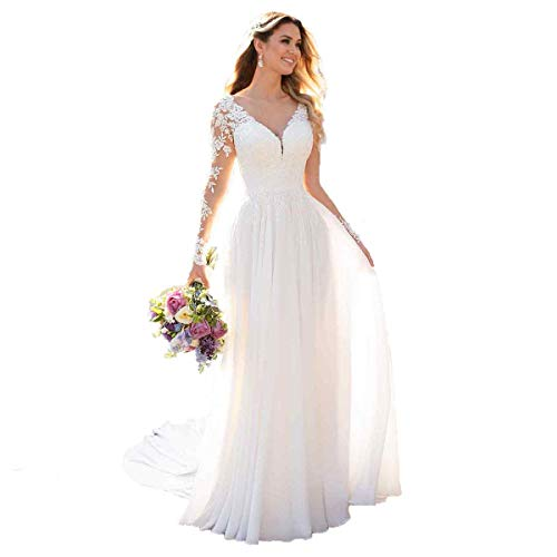 Vestido de novia de gasa con manga larga y cuello en V, vestido de novia, vestido de dama de honor Blanco 36