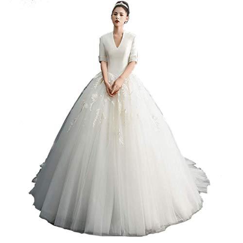 Vestido de Novia de satén de Cola Larga para Mujer Vestido de Novia Retro Vestido de Noche Vestido de Fiesta de Bodas (Color : White, tamaño : M)