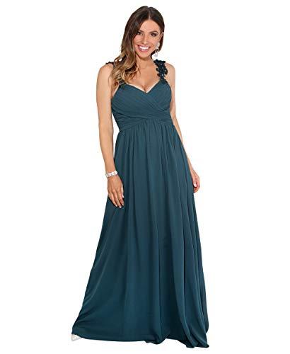 KRISP Vestido Fiesta Largo Gasa Dama Honor Corte Imperio Invitada Boda Talla Grande Elegante Madrina Ceremonia, Azul Petróleo (2410), 48 EU (20 UK), 2410-PTRL-20