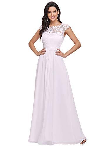 Ever-Pretty Vestido de Boda Encaje Gasa Cuello Redondo Corte Imperio A-línea para Mujer Blanco 40