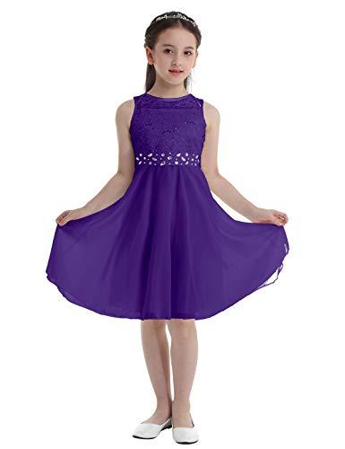Freebily Vestido Largo de Fiesta Niña Vestido de Boda Bautizo Comunión con Lentejuelas Traje de Ceremonia Vestido de Flores Gala Niña Morado 14 años