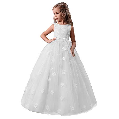 NNJXD Niñas Vestidos de Fiesta sin Mangas Bordados Boda cumpleaños Fiesta Princesa Vestido Tamaño (150) 9-10 años 363 Blanco-A