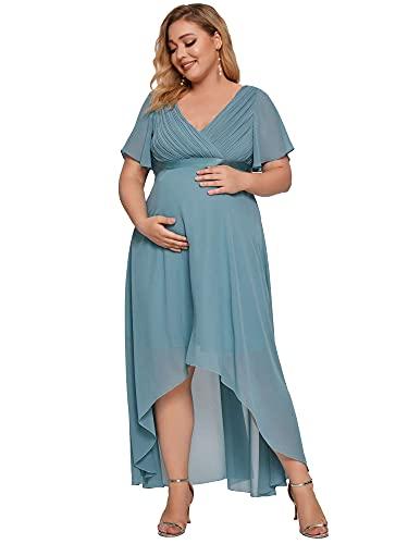 Ever-Pretty Vestido de Fiesta para Mujer Embarazada Alto Bajo Escote en V Manga Corta Gasa Cómodo Azul Polvoriento 52