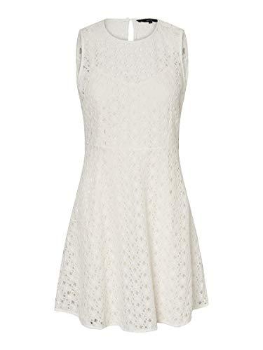Vero Moda Vmallie Lace S/l Short Dress Noos Vestido Formal, Blanco como La Nieve, Mujer