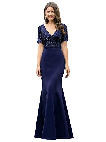 Ever-Pretty Vestidos de Dama de Honor Sirena Elegant Largo Escote en V Manga Corta Lentejuelas Mujer Azul Marino 46