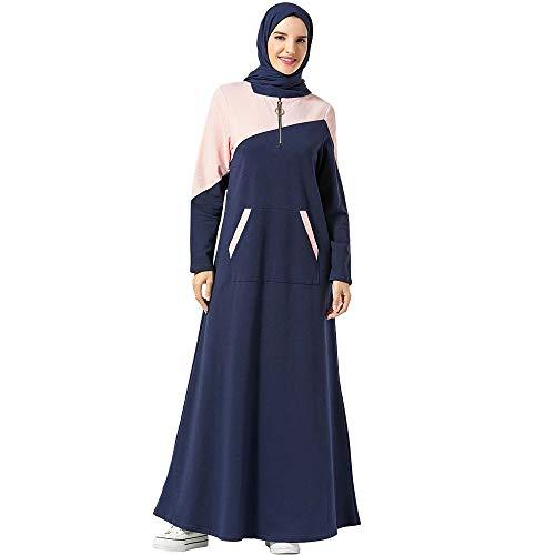 BaronHong Mujeres Musulmanas largas Sudadera con Capucha Vestido Dubai Kaftan Abaya árabe Caftan Ropa islámica (Azul Marino, XL)