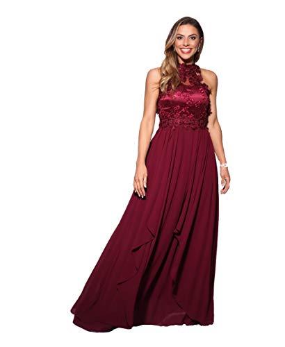 KRISP Vestido Fiesta Largo Dama de Honor Corte Imperio Invitada Boda Tallas Grandes Elegante Madrina Ceremonia, (Burdeos (4812), 36 EU (08 UK)), 4812-WIN-08