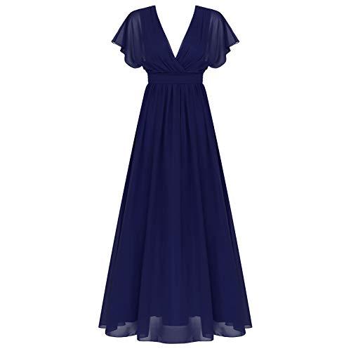Freebily Vestido Largo Elegante para Mujer Vestido de Noche Fiesta Mujer Chica Vestido Gasa Fiesta Cóctel Graduación Boda Ceremonia Mujer Azul Marino B 8
