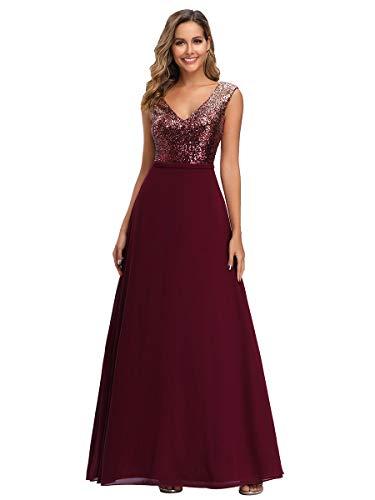 Ever-Pretty A-línea de Gala Vestido de Noche Lentejuela Cuello en V Largo para Mujer Borgoña 38