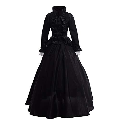 GRACEART Victoriana Vestido Delgado botón de Encaje Vestido renacentista (M, Negro)