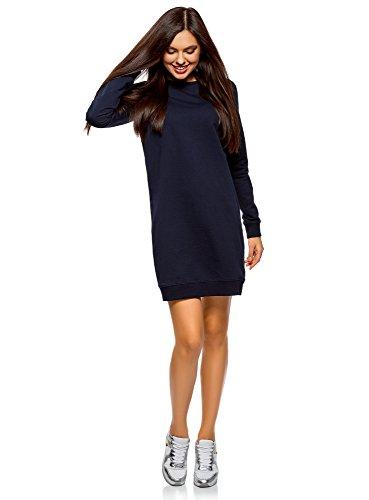 oodji Ultra Mujer Vestido Básico de Estilo Deportivo, Azul, ES 34 / XXS