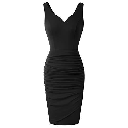 Vestido Lápiz de Novia sin Mangas con Cuello V de Cóctel para Mujer L Negro CLS02497-1