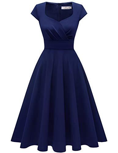 Homrain 50s Vestidos Vintage Retro Rockabilly Clásico Vestido Vendimia para Mujer Navy L
