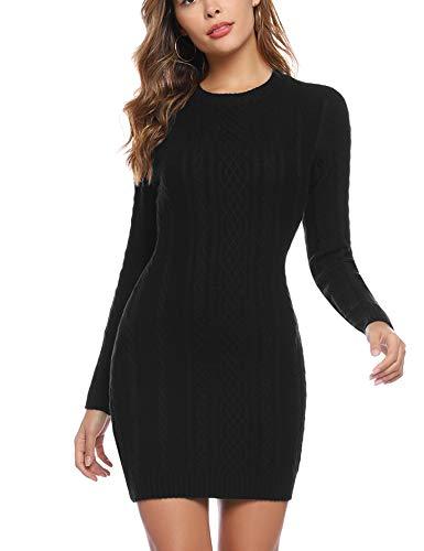 Aibrou Vestido Sueter de Punto Cuello Redondo para Mujer,Elegante Vestido de Suéter Manga Larga Elástico Delgado Clásico,Sexy Jersey Falda de Cadera Negro M