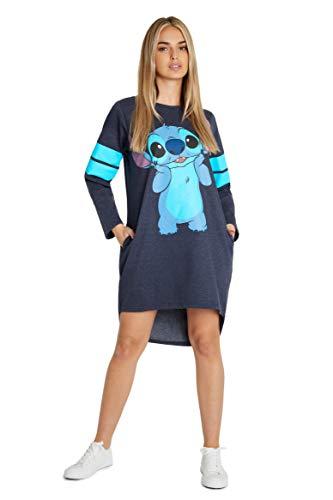 Disney Vestidos Mujer Casual de Lilo y Stitch, Jersey Largo Mujer, Vestido Mujer de Manga Larga, Regalos para Mujer y Adolescente Talla S-XL (Azul, M)