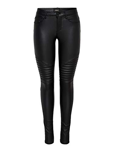ONLY onlNEW ROYAL REG SK. BIKER COATED NOOS, Pantalones Mujer, Negro (Black), L/L30 (Talla del fabricante: Large)