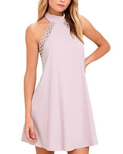 SUNNYME Mini vestidos sin mangas para mujer, vestido formal, sin espalda, para fiesta, cóctel, vestido sin espalda