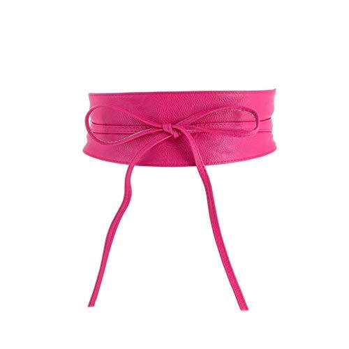 FASHIONGEN - Cinturón de Mujer Obi Ancha de Cuero sintética, para Vestido, MICA - Fucsia, L-XL