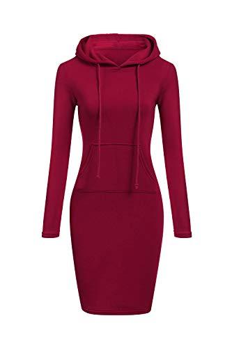 Mujer Vestido Casual con Capucha para Jersey De Manga Larga Bolsillo con Capucha Delgado Rojo L
