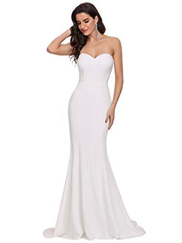 Ever-Pretty Vestido de Novia de Boda sin Tirantes Largo para Mujer Sirena Corte Imperio Elegant Blanco 44
