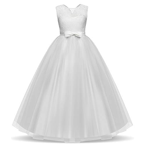 TTYAOVO Vestido de Fiesta de Boda Bordado con Gasa para niños Tamaño 9-10 años Blanco