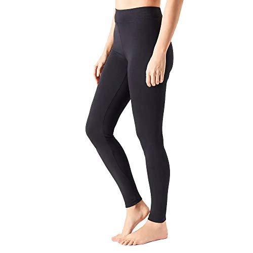 MAGIC SELECT Legging básico de algodón Largo, Malla elástica de Deporte para Mujer (Negro L)