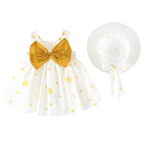 K-youth Ropa Bebe Niña de 0 a 24 Meses, Casual Lindo Vestido de Niña Imprimiendo Arco Sin Mangas Ropa Bebé Recién Nacido Verano Vestidos de Princesa Niña Playa + Sombrero (Amarillo, 0-6 Meses)