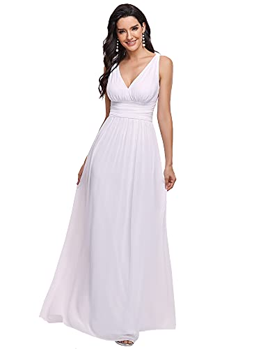 Ever-Pretty A-línea Largo Vestido de Novia Corte Imperio Cuello en V sin Mangas para Mujer Blanco 36