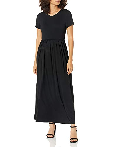 Amazon Essentials – Vestido largo de manga corta con cintura ceñida para mujer, Negro, US XL (EU 2XL)