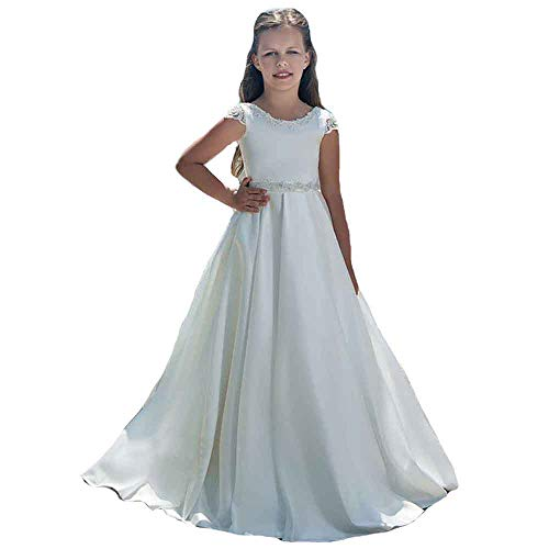 MerryGirl Vestidos de niña de Flores de satén Suave para Bodas Vestido de Primera comunión de Encaje (Blanco, 10)