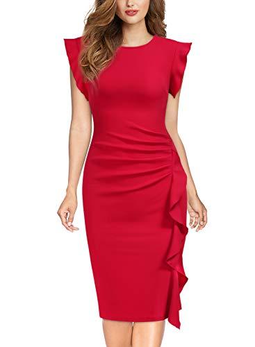 Miusol Casual Slim Fit Coctel Vestido de Lápiz para Mujer Nuevo Rojo Small