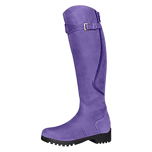 Botas de invierno altas hasta la rodilla para mujer, clásicas, antideslizantes, bajas, de tacón medio, para mujer, casual, vestido, Purple, 39.5 EU