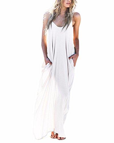 ZANZEA Mujeres Cuello V Sin Mangas Casual Elegante Punto Vestido Suelto Largo Playa Verano Blanco EU 36
